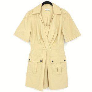 Sandro Tan Mini Dress Classic Structured Pockets